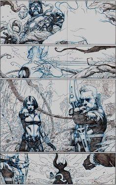 Black Widow and Hawkeye (interior art) by Jerome Opena