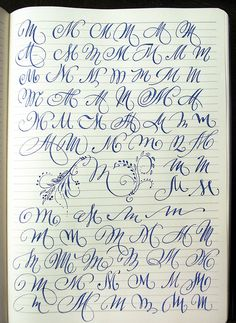 Capital letters Majuscule M variants by Polish calligrapher Barbara Gal. - Capital letters Majuscule M variants by Polish calligrapher Barbara Galinska on Behance - Fonte Alphabet, Alphabet Cursif, Hand Lettering Alphabet, Doodle Lettering, Creative Lettering, Lettering Styles, Capital Alphabet, Caligraphy Alphabet, Copperplate Calligraphy