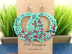 BIG and Beautiful Metal Lace Circle Earrings  by jillmccp on Etsy, $9.95