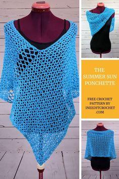 Free crochet pattern for the Summer Sun Ponchette, a lace crochet pattern. Crochet pattern by guest designer I Need It […] Crochet Hook Sizes, Crochet Yarn, Crochet Hooks, Free Crochet, Knit Crochet, Crochet Sweaters, Bolero Crochet, Crochet Wraps, Freeform Crochet