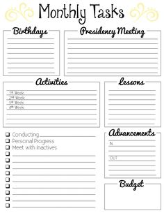 Free Monthly Tasks list for Young Women presidencies. Keep track of all your assignments, visits, budgets, birthdays, meetings, and more with this free download. Visit the link for more planner pages.