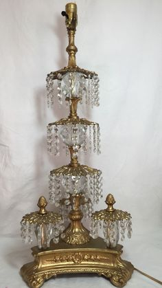 Antique vintage beautiful 4 light floral table lamp rewired antique beautiful crystal waterfall table lamp keyboard keysfo Image collections