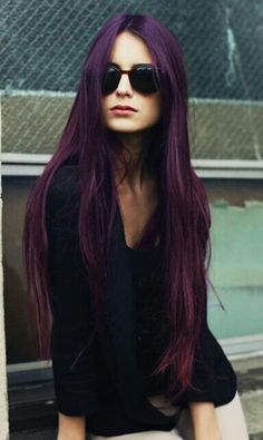 Do you want dark purple hair color? We have pictures of Amazing Dark Purple Hair Color Ideas that will inspire the purple diva in you! Dark Purple Hair Color, Long Purple Hair, Purple Ombre, Deep Violet Hair, Color Borgoña, Purple Hues, Plum Hair Colour, Dark Colors, Aubergine Hair Color