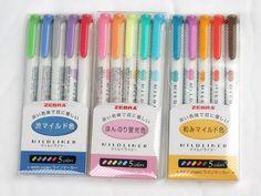 Zebra Highlighter mildliner pens gold blue pink label pack 5