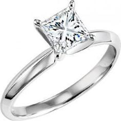 14kw traditional princess cut solitaire diamond engagement ring. Featuring a .75ct princess cut center diamond with I color and I1 clarity, this solitaire is on