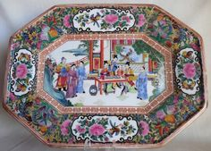 Antique Chinese Export Hallmarked Famille Rose Porcelain Platter Plate