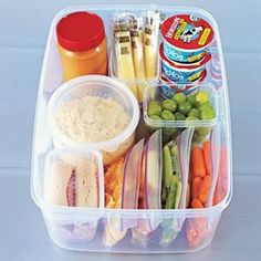 Great Idea.. organize healthy snacks. Make it simple to grab something good for you instead of a bag of chips..:
