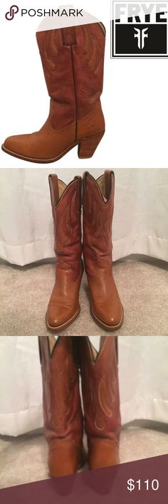 Authentic Frye cowgirl boots Authentic Frye cow body / cowgirl boots in saddle brown color leather. Really good condition. Small 3.5 inch heel, needs insoles. Great for the country or if your like to look like country! No trades. Frye Shoes Heeled Boots