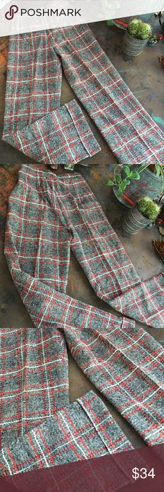 """Vintage high waisted wide leg plaid pants Super rad vintage wool blend plaid cuffed trousers. Their not labeled. Perfect for winter!! Waist: 26"""" • length: 41 1/2"""" Vintage Pants Trousers"""