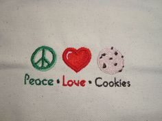 Peace love cookies canvas tote Perfect for Girl by RuJuandMomo, $15.00