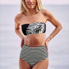 Stripe Print Strapless High Waist Bikini Set Swimsuit Swimwear