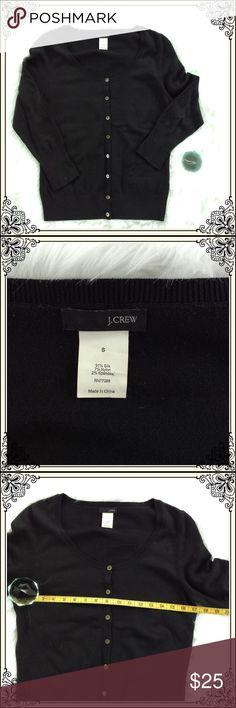 Black J Crew Cardigan (#570) Black  Cardigan with 3/4 length sleeves. J. Crew Sweaters Cardigans