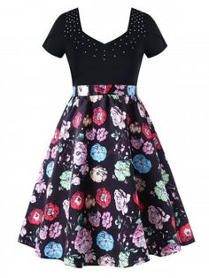 2c54f1c8e8 Floral Print Plus Size Fit and Flare Dress - BLACK - XL Dresses For Sale