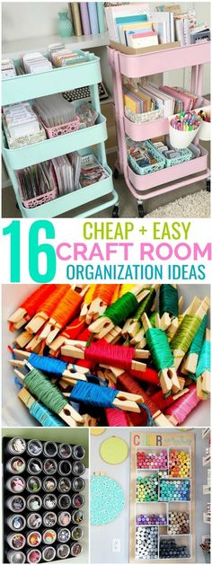 These 16 Craft Room Organization Methods Are So ADORABLE! I love how easy and quick everything is and how you can even color coordinate the WHOLE room!