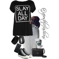 Apostolic Fashions #1814 by apostolicfashions on Polyvore featuring moda, Boohoo, LE3NO, Converse, Kate Spade, Forever 21 and Gerber