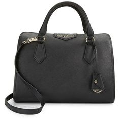 Karl Lagerfeld Paris Saffiano Leather Satchel ($228) ❤ liked on Polyvore featuring bags, handbags, karl lagerfeld bags, karl lagerfeld handbags, zip top bag, saffiano leather handbags and satchel style purse