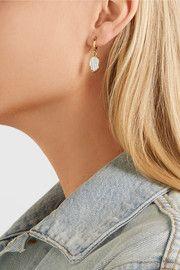 Gold-tone bone hoop earrings