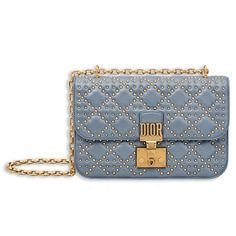 Dior Blue-Grey Studded Dioraddict Flap Bag