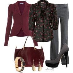 """Burgundy Blazer"" by christa72 on Polyvore. I love the shirt, the blazer and the shoes."