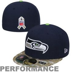 New Era Seattle Seahawks Salute To Service On-Field 59FIFTY Fitted Performance Hat - College Navy/Digital Camo