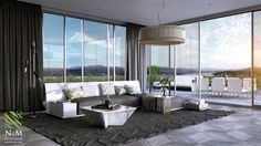 Living room with panoramic window