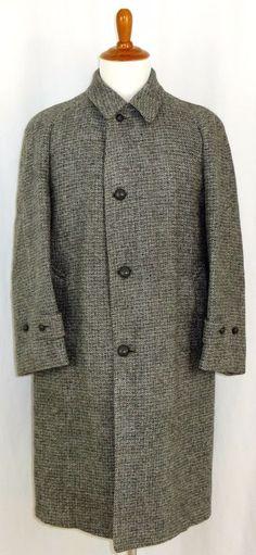 VIntage Mens Harris Tweed Winter Coat Grey Houndstooth  44 Large #HarrisTweed #BasicCoat