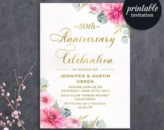 Floral Anniversary Invitation, 50th Wedding Anniversary Invitation, 25th, 30th Anniversary Invitation, Gold Pink Anniversary Invite