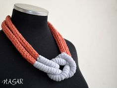 Hand knitted t shirt yarn necklace, sailors knot, two tone.