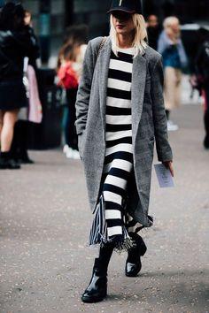 .striped maxi dress, long plaid coat, chelsea boots