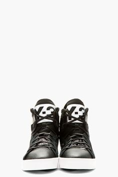 Y-3 Black Mesh Laver High-Top Sneakers
