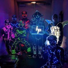 Professional led tron dance costumes, #ledtron #ledcostumes #entertainment #party #disco #nightclub Led Costume, Dance Costumes, Laser Show, Stage Show, Nightclub, Dj, Dancer, Darth Vader, Entertainment