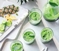 Super smoothies for all ages - Kentucky Living Persian Cucumber, English Cucumber, Smoothie Recipes, Smoothies, Super Green Smoothie, Fresh Mint Leaves, Super Greens, Fresh Ginger, Yummy Drinks