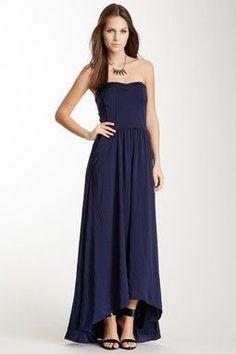 Navy blue full length dress