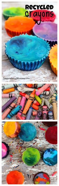 Recycled Crayons - Don't throw those used and abused crayons away! Bring them back to life! These are so fun and easy to create! Anyone can do it! #recycling