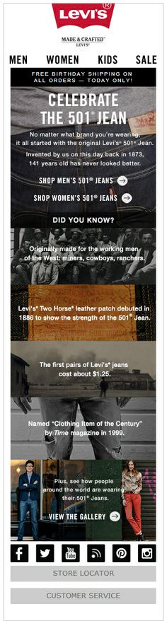 Responsive email design from Levis