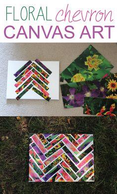 Floral Chevron Canvas Art DIY