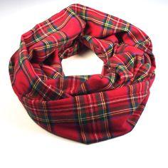 Red Plaid Flannel Infinity Scarf Soft Cozy Scarf