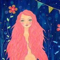 Mermaid Painting Mermaid Art Mermaid Illustration by Sascalia