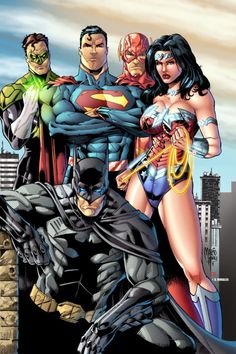 Green Lantern, Superman, The Flash, Wonder Woman, and Batman