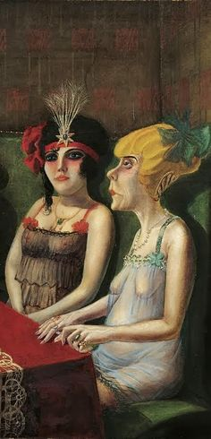 Painting by Otto Dix (1891-1969), 1921, (detail) The Saloon I, Oil on canvas. #Weimar