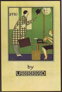 """London Underground poster """"Office by Underground"""", by Stanislaus S Longley, 1933."""