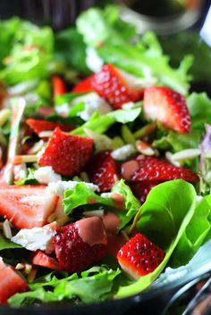 Quick and easy summer salad with a 3 minute homemade strawberry balsamic dressing.