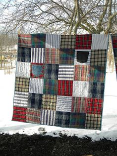 memory quilts made from shirts and jean pockets