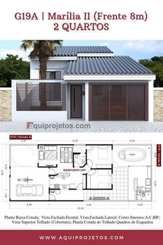 Planta de Casa House Layout Plans, Small House Plans, House Layouts, House Construction Plan, 2 Storey House Design, Architectural House Plans, Simple House Design, Narrow House, Villa Design