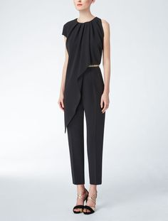 b82c4558b0b343 Max Mara Cady jumpsuit with asymmetrical front drapery. Straight trousers.  Silk georgette lining.