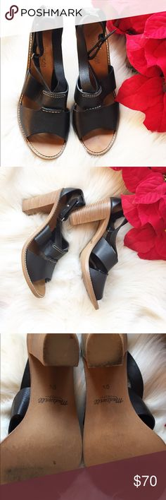 """Madewell Black Strappy Heels Beautiful heels. Great condition. Minor wear at the bottom. (PLEASE LOOK AT PHOTO).heel is about 4""""high Madewell Shoes Heels"""