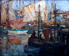 """""""Harbor Life,"""" Frederick J. Mulhaupt, oil on canvas, 8 x 10"""", private collection."""