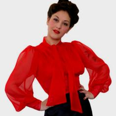 Check out the deal on Yvonne blouse at reVamp Vintage 1940s Fashion, Fashion 2018, Vintage Fashion, Blouse Vintage, Vintage Shirts, Vintage Clothing, Red Blouses, Blouses For Women, Retro Outfits