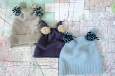 kojotutorial: supersimple pom pom hat from an old sweater | kojodesigns