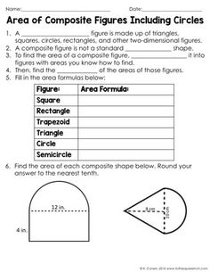 Area of Composite Figures Including Circles Notes by To the Square Inch- Kate Bing Coners | Teachers Pay Teachers